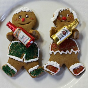 Gingerbread couple bearing booze