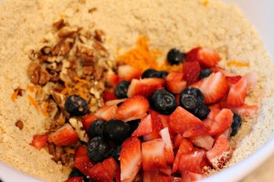 Add fruit and nuts to dry ingredients