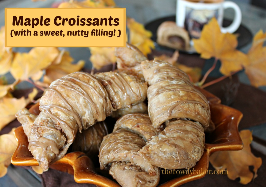 Maple croissants with a sweet nutty filling