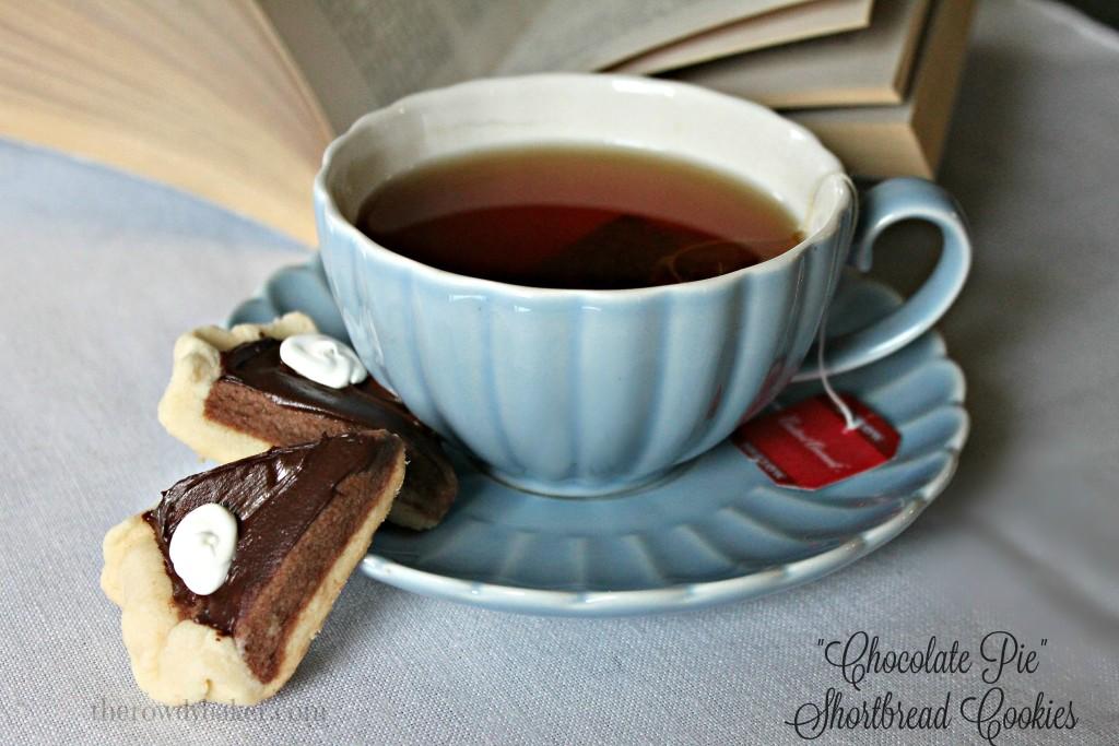 Chocolate pie shortbread cookies and tea watermarked