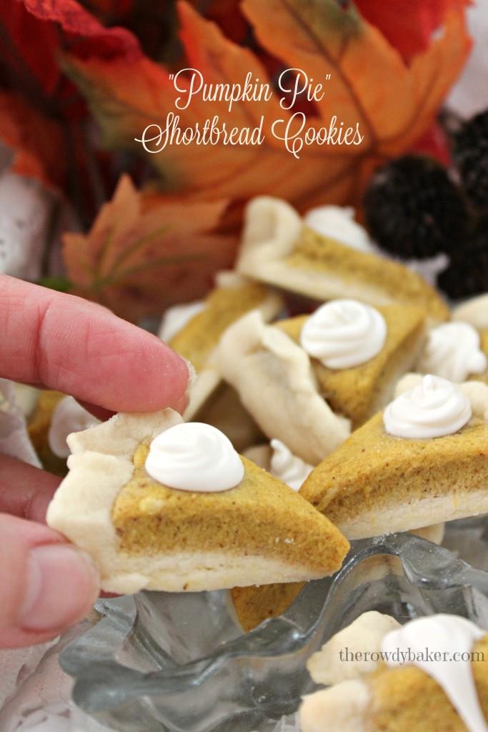 pumpkin pie shortbread cookies holding watermarked